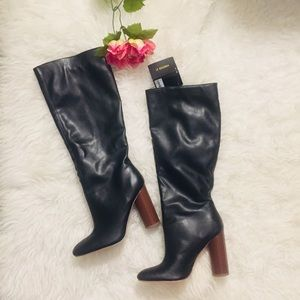 Forever 21 Black Calf High Faux Leather Boots.NWT